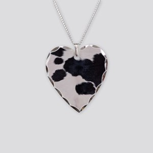 SPOTTED COW HIDE Necklace Heart Charm